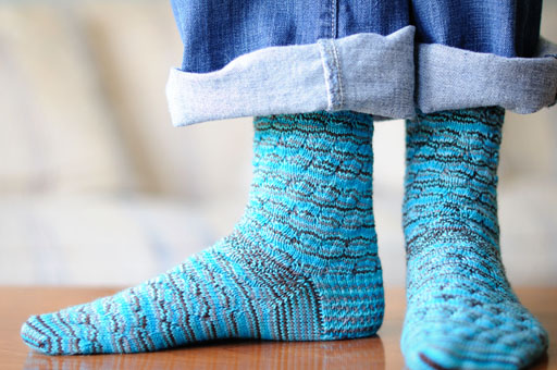 Blue and Brown Stripe Socks